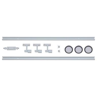 famlights | 1-Phasen Schienensystem-Set in Weiss und Silber 2 Meter inkl. 3 Spots inkl. Leuchtmittel