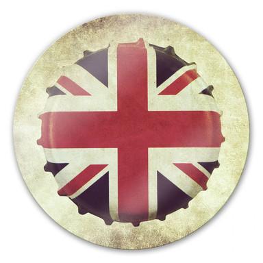 Glasbild Britischer Kronkorken - rund