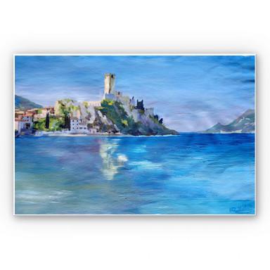 Hartschaumbild Bleichner - Malcesine mit der Castello Scaligero