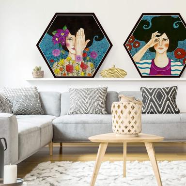 Hexagon - Holz Birke-Furnier - Hülya - Augenblicke (2-teilig) - Bild 1