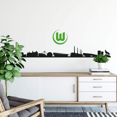 Wandtattoo VfL Wolfsburg Skyline mit Logo farbig