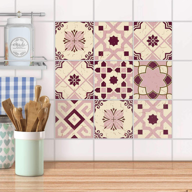 Fliesenaufkleber Set - Mediterranean Tile Set - Red Purple