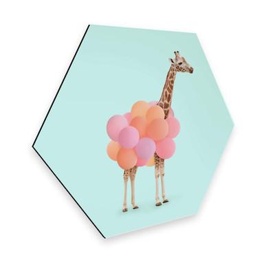 Hexagon - Alu-Dibond - Fuentes - Giraffe und Ballons