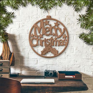 Holzkunst Mahagoni - Merry Christmas