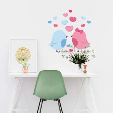 Wandsticker Vogelpaar mit Herzen
