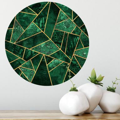 Wandtattoo Fredriksson - Dunkelgrüner Smaragd - rund