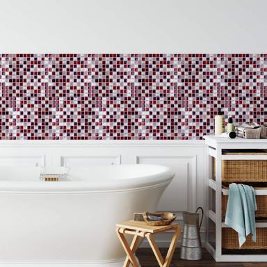 3D Fliesenaufkleber Mosaikmuster Bordeauxrot - 4er Set je 25.4 x 25.4cm