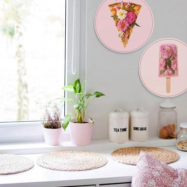 Alu-Dibond Fuentes - Blumen auf Pizza und Eis (2-teilig) - Rund Ø45cm - Bild 1