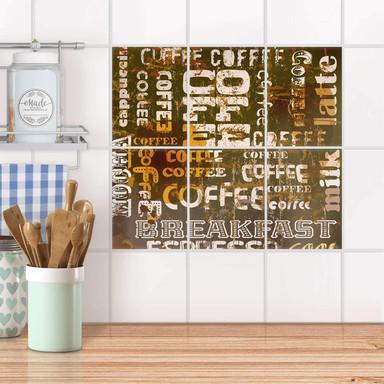 Fliesenaufkleber hoch - Coffee Typo
