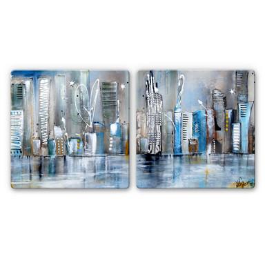 Glasbild Fedrau - Skyline (2-teilig)