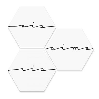 Hexagon - Alu-Dibond Vis ris aime (3er Set)