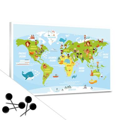 Pinnwand Lustige Kinder Weltkarte