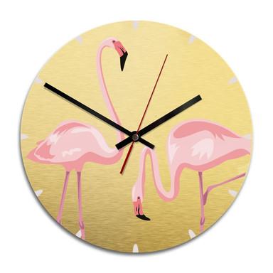 Wanduhr Alu-Dibond-Goldeffekt - Flamingo 04 - Ø 28cm - Bild 1