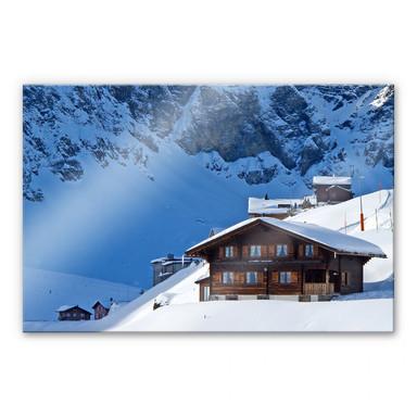 Acrylglasbild Ferienhütte in den Schweizer Alpen