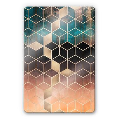Glasbild Fredriksson - Goldgrüne Geometrie
