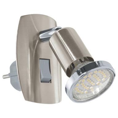 LED Steckdosenspot, Einzelspot, nickel-matt