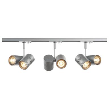 1-Phasen-Stromschienen Komplettset Bima Double in Silber 6x 5.5W 400lm GU10 2m