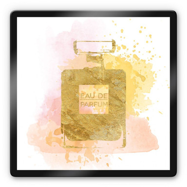Glasbild Eau de Parfum Aquarell - Gold