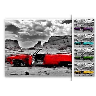 Hartschaumbild Roter Cadillac