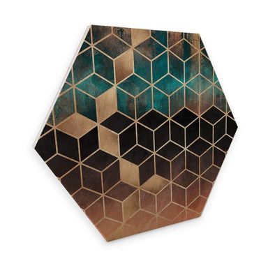 Hexagon - Holz Birke-Furnier Fredrikkson - Goldgrüne Geometrie