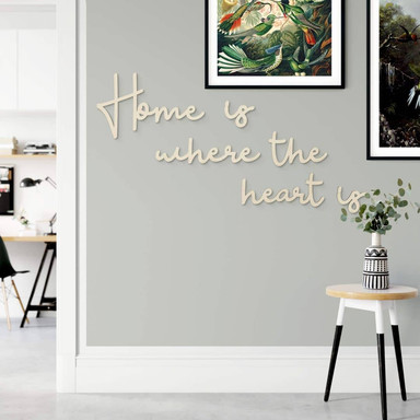 Holzbuchstaben Pappel - Home is where the heart is where the heart is (6-teilig)
