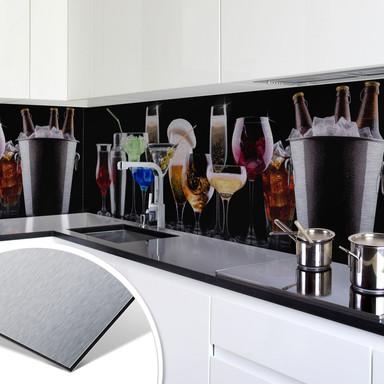 Küchenrückwand - Alu-Dibond-Silber - Cocktail Feeling