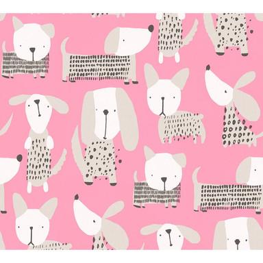 A.S. Création Papiertapete Boys & Girls 6 Tapete mit niedlichen Hunden rosa, weiss
