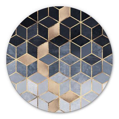 Alu-Dibond Fredriksson - Blaue Geometrie - Rund