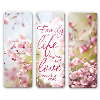Glasbild Family is where Life begins (3-teilig)