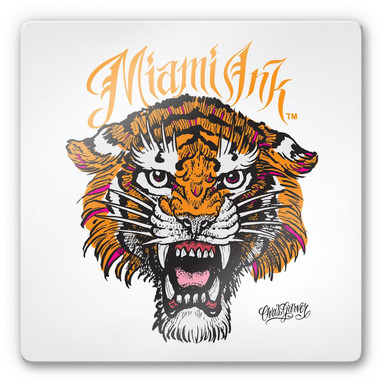Glasbild Miami Ink Tiger