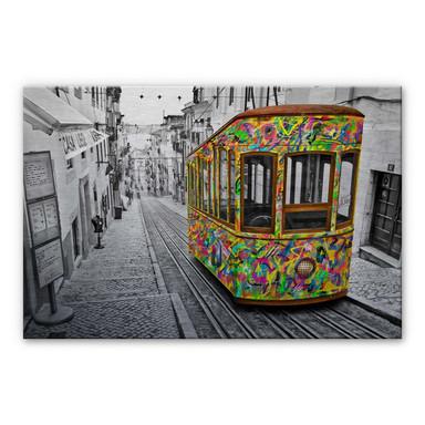 Alu-Dibond-Silbereffekt Ben Heine - Tram in Lissabon