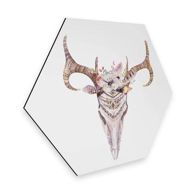Hexagon - Alu-Dibond - Kvilis - Boho Skull Feder
