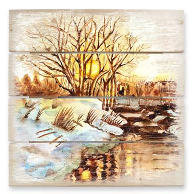 Holzbild Toetzke - Goldener Winter