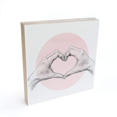 Holzbild zum Hinstellen - Graves - Heart in Hand - 15x15cm