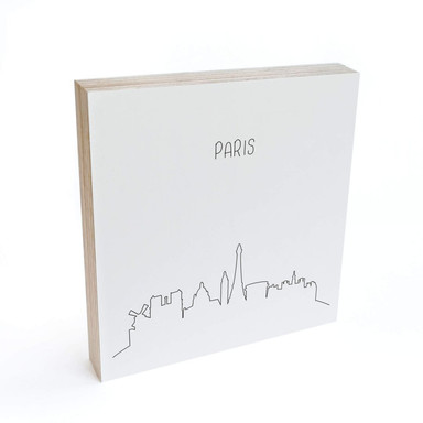 Holzbild zum Hinstellen - Skyline Paris Outline - 15x15cm