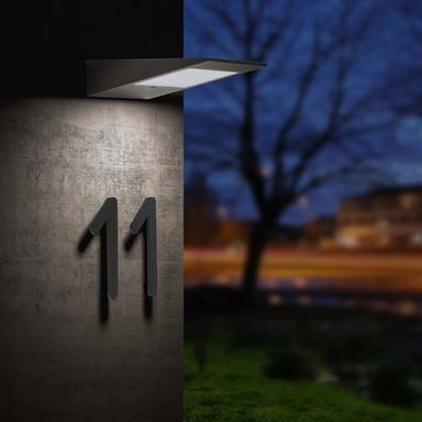 LED Solarwandleuchte in Anthrazit 2.2W 195lm IP54