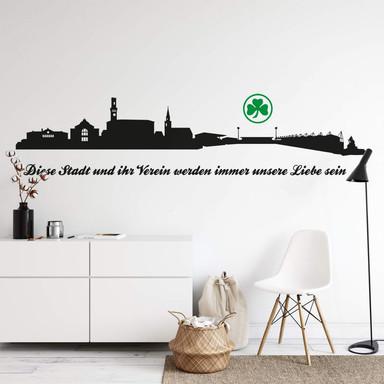 Wandtattoo SpVgg Greuther Fürth Skyline mit Logo farbig 2