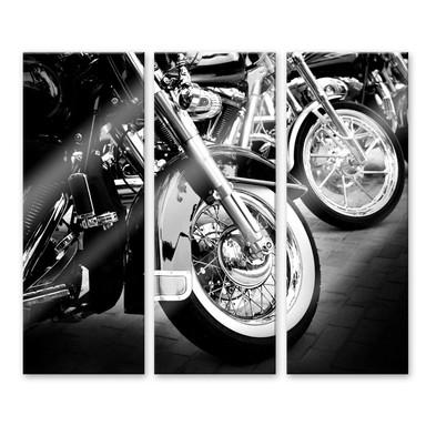Acrylglasbild Motorcycle Wheels (3-teilig)