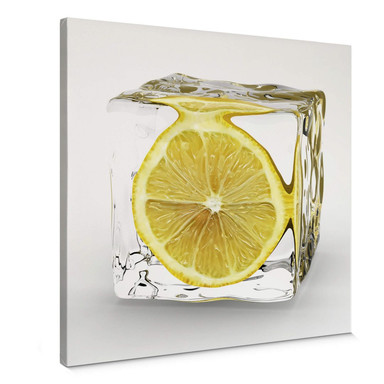 Leinwandbild Zitroneneiswürfel