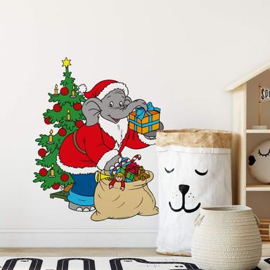 Wandsticker Benjamin als Weihnachtsmann