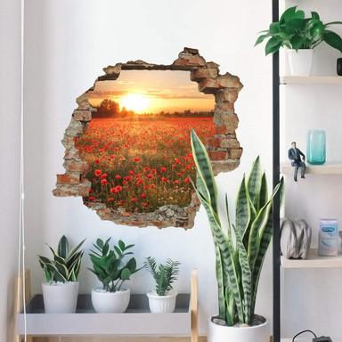 3D Wandtattoo Mohnfeld im Sonnenuntergang