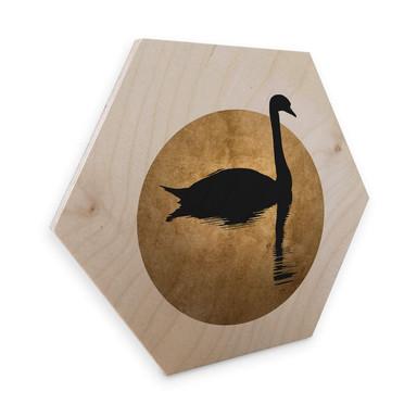 Hexagon - Holz Birke-Furnier Kubistika - Schwanensee im Vollmond