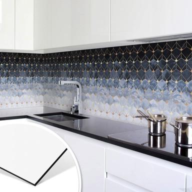 Küchenrückwand Fredriksson - Hexagone: Blau und Gold