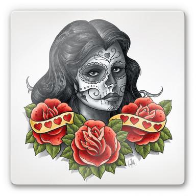 Glasbild LA Ink Frau mit Sugar Skull