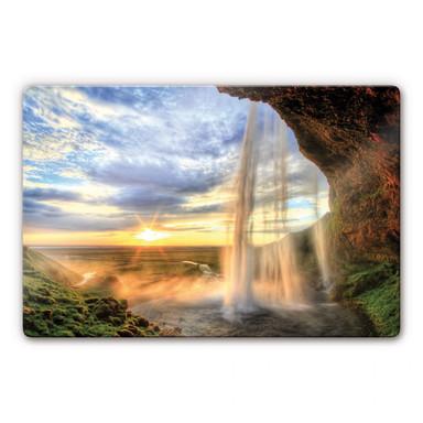 Glasbild Seljalandsfoss Wasserfall