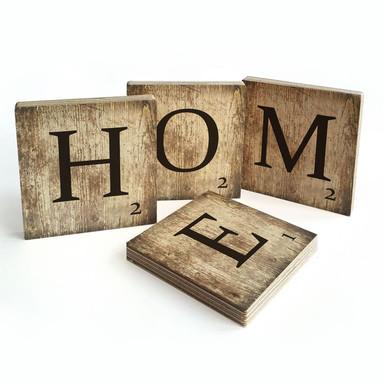 Holzbuchstaben Buchstabensteine Home - Vintage
