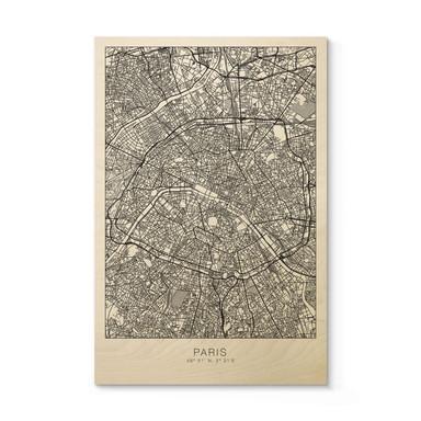 Holzposter Stadtplan Paris