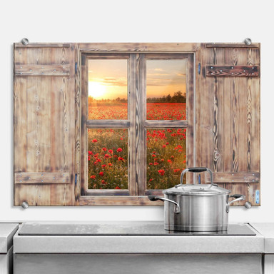 Spritzschutz 3D Holzfenster - Mohnblumen im Sonnenuntergang