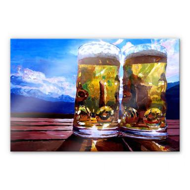 Acrylglasbild Bleichner - Zwei Bier in den Bergen