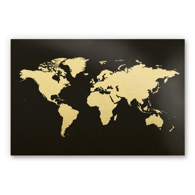 Alu-Dibond-Goldeffekt - Weltkarte 02